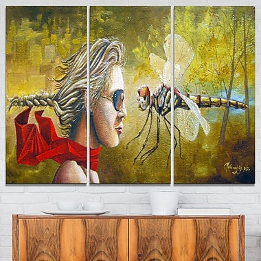 Human and Dragon Fly Abstract Metal Wall Art, 36x28, 3 Panels, (MT7642-36-28)