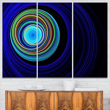 Endless Tunnel Blue Ripples Abstract Metal Wall Art, 36x28, 3 Panels, (MT7725-36-28)