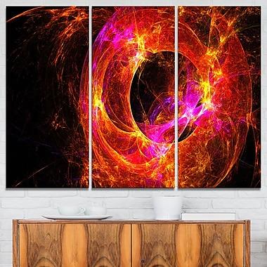 Galaxie sphérique éloignée, rouge, art mural abstrait en métal, 36 x 28, 3 panneaux, (MT7730-36-28)