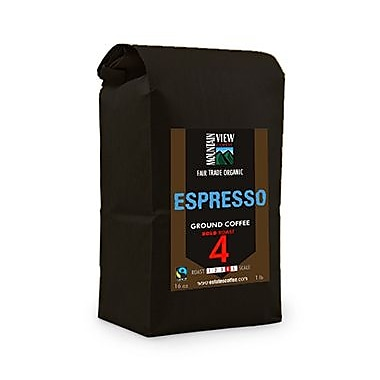 Mountain View Coffee Fair Trade Espresso Ground Coffee, 1 lb, 6/Pack (FTESG1C)