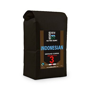 Mountain View Coffee Fair Trade Indonesian Ground Coffee, 1 lb, 6/Pack (FTING1C)