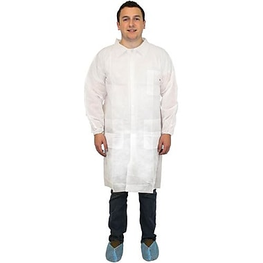 The Safety Zone White Poly Lab Coat, 3 Pockets, XL, 60/Pack (DLWH-XL)