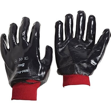 Showa Best Glove, Nitrile Glove, Full Coat, Knit Wrist, Smooth, Size 8, 12 Pairs/Pack (7000-08)