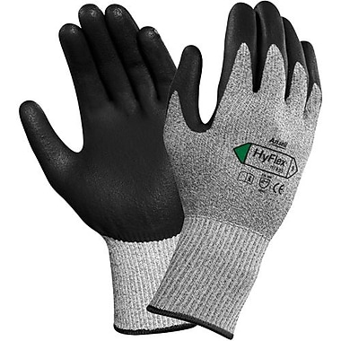 Ansell Glove, Hyflex 11-435 PolyPalm Dip Black/Grey, Size 7, 12 Pairs/Pack (111049)