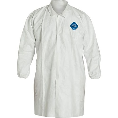 Dupont – Blouse de laboratoire à 5 boutons-pression à l'avant, blanc, moyen, 12/paquet (TY211SWHMD)
