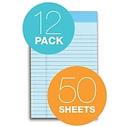 """TOPS Prism+ Writing Notepads, 5"""" x 8"""", Narrow Ruled, Blue, 50 Sheets/Pad, 12 Pads/Pack (63020)"""