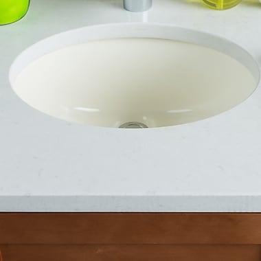 Hahn Ceramic Bowl Oval Undermount Bathroom Sink w/ Overflow; Bisque