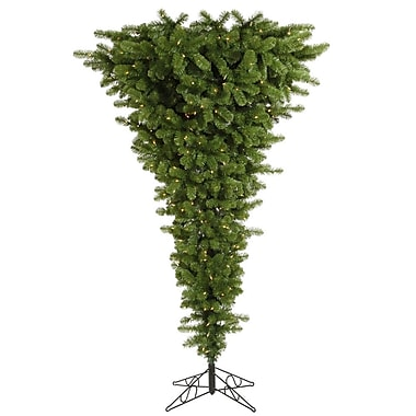 Vickerman Upside Down 7.5' Green Artificial Christmas Tree w/ 500 Clear Lights w/ Stand