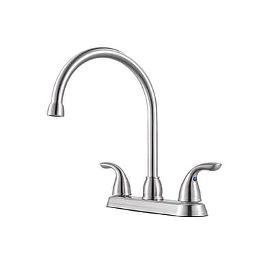 Pfister Double Handle Kitchen Faucet; Stainless Steel