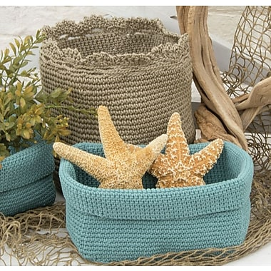 Heritage Lace Mode Crochet Basket w/ Trim; Tan