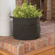 Heritage Lace Mode Crochet Round Basket; Charcoal