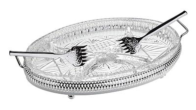 Corbell Silver Company Queen Anne 4 Piece Oval Hors d'oeuvre Tray w/ Side Handles And Forks