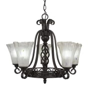 Toltec Lighting Elegant  5-Light Shaded Chandelier; Frosted