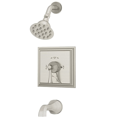 Symmons CanterburyPressure Balance Tub and Shower System w/ Lever Handle; Satin Nickel