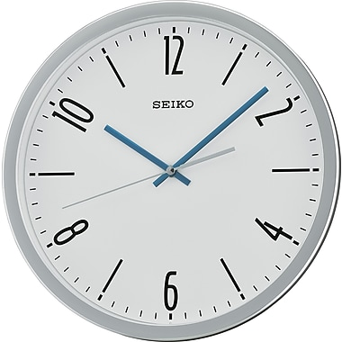 Seiko – Horloge murale QXA676S, 12 1/4 diag. x 1 3/4 (po), argenté