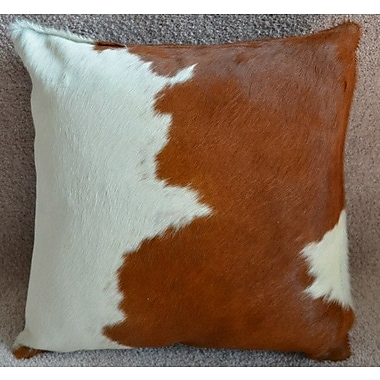 Pergamino Cowhide Throw Pillow; Brown/White