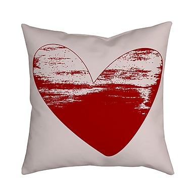 SafiyaJamila Holiday Treasures Watercolor Sketchy Love Heart Throw Pillow; Red