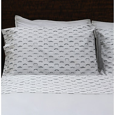 Thread Experiment Vaudeville Mustaches 100pct Cotton - Sateen Sheet Set; Twin