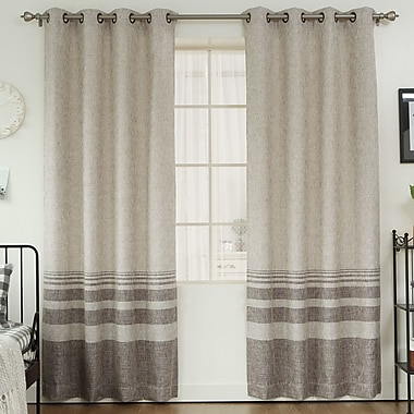 Best Home Fashion, Inc. Striped Shimmer Grommet Top Curtain Panels (Set of 2); Chocolate