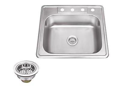 Soleil 25'' x 22'' Single Bowl Drop-In Stainless Steel Kitchen Sink