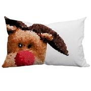 SafiyaJamila Holiday Treasures Peek-A-Boo Rudolph Christmas Lumbar Pillow