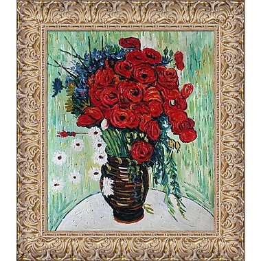 Tori Home 'Vase w/ Daisies and Poppies' by Vincent Van Gogh Framed Hand Painted Oil on Canvas
