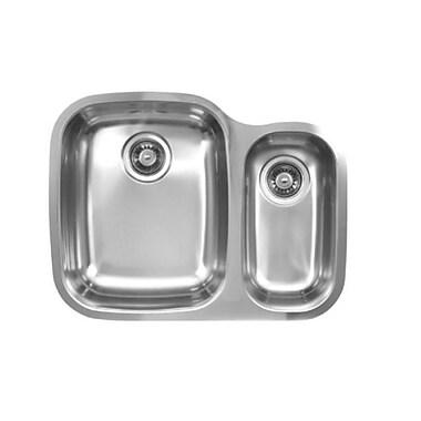 Ukinox 26.25'' x 20.5'' Double Bowl Undermount Kitchen Sink; Left