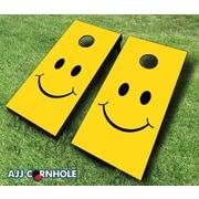 AJJCornhole 10 Piece Smiley Cornhole Set; Red/Orange