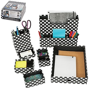 Merangue 6-Piece Paper Desk Set, Polka Dots