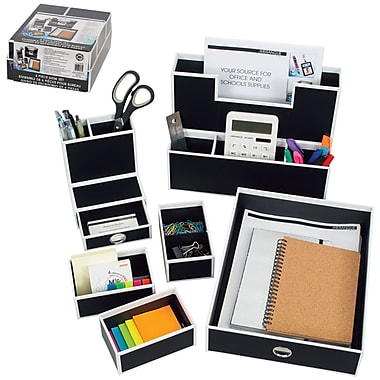 Merangue – Ensemble d'accessoires de bureau en papier, 6 pièces, noir avec bordure blanche