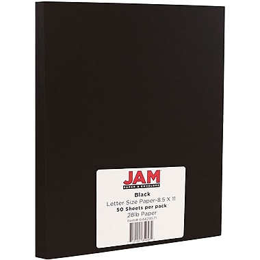 JAM Paper® Matte Paper, 8.5 x 11, 28lb Smooth Black, 50/Pack (64429571)