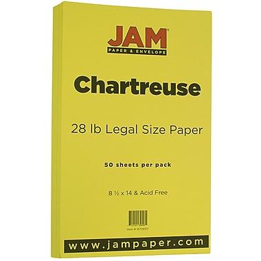 JAM Paper® Matte Legal Paper, 8.5 x 14, 28lb Chartreuse Green, 50/Pack (16729317)