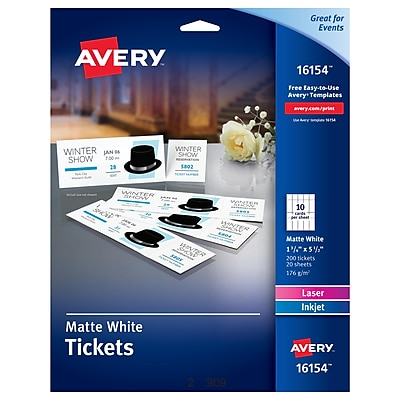 Avery® Printable Tickets with Tear-Away Stubs, Matte White, 200/Pack (AVE16154)