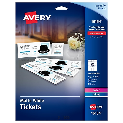 avery r tickets with tear away stubs 16154 matte white 1 3 4 x 5