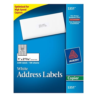 Avery® 5351 White Copier Address Labels, 1
