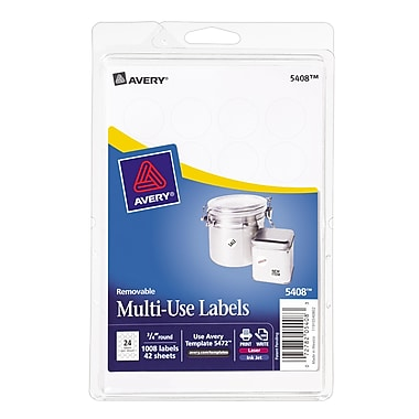 Avery® 5408 Print-or-Write Multiuse ID Labels, 3/4