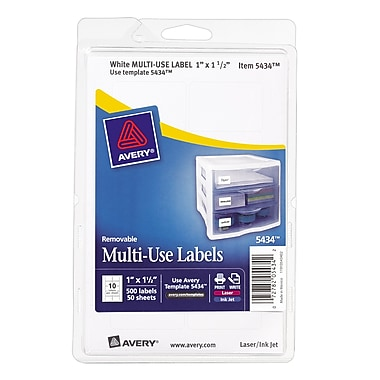 Avery® 5434 Print-or-Write Multiuse ID Labels, 1