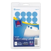 "Avery® 5461 Round 3/4"" Diameter Print & Write Color Coding Labels, Light Blue"