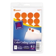 "Avery® 5465 Round 3/4"" Diameter Print & Write Color Coding Labels, Orange"