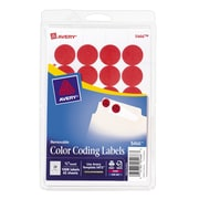 "Avery® 3/4"" Round Print & Write Color-Coding Labels, Red, 1008/Pack (13952/5466)"