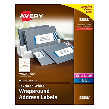 Avery White Textured Wraparound Address Labels, 7-17/20