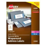 "Avery White Textured Wraparound Address Labels, 7-17/20"" x 1-3/4"", Pack of 50 (22838)"