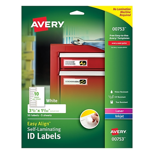 """Avery® Easy Align™ 1 1/32"""" x 3 1/2"""" Inkjet/Laser Self Laminating Permanent Adhesive ID Label, White, 50/Pack (00753)"""