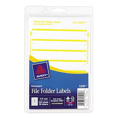 Avery® 5209 Print-or-Write Yellow File Folder Labels, 252/Pack