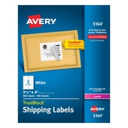 "Avery Laser Shipping Labels with TrueBlock, 3-1/3"" x 4"", White, 600/Box (05164)"