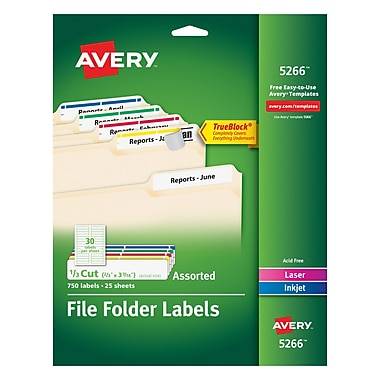 avery permanent file folder labels with trueblock assorted colors 750pack - Avery Colored Labels
