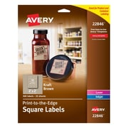 "Avery Print-to-the-Edge Kraft Brown Square Labels, 2"" x 2"", Pack of 300 (22846)"