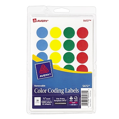 Avery® Laser/Inkjet Round Print-and-Write Color-Coding Labels, Assorted Colors, 1008/Pack (13958/5472)
