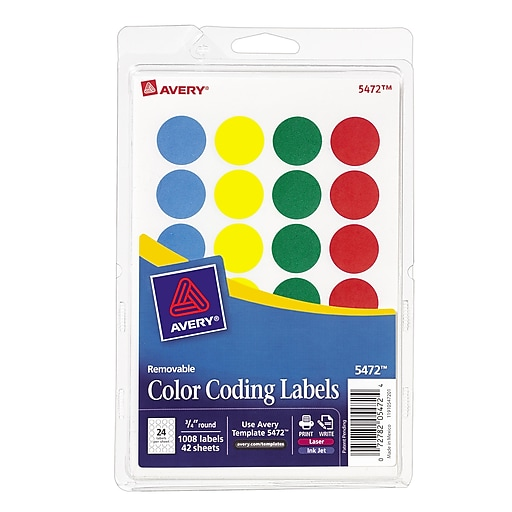 avery round 3 4 diameter print and write color coding labels