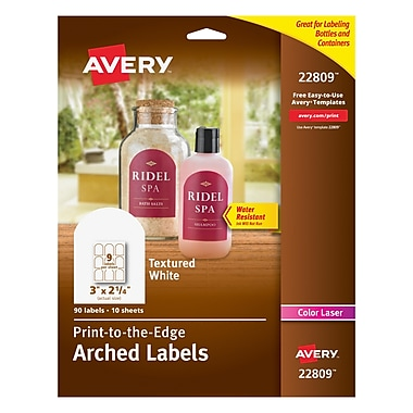 Avery Print-to-the-Edge Textured Matte White Arched Labels, 2-1/4
